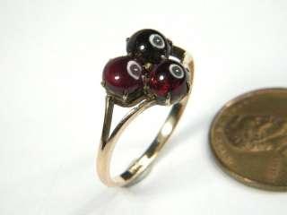 ANTIQUE 9K ROSE GOLD CABOCHON GARNET TREFOIL RING c1900