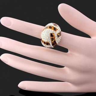 Leopard Dots Swarovski Crystals Gold GP ARINNA Ring