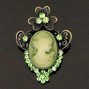 1p Rhinestone crystal antiqued Cameo Pin Brooch wedding