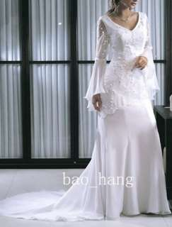 White Long Sleeve Lace Voile Beading Bride Wedding Prom Party Evening