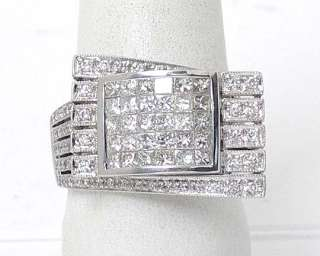 UNIQUE 18k WG 3ct INVISIBLE SET DIAMONDS PLATFORM RING