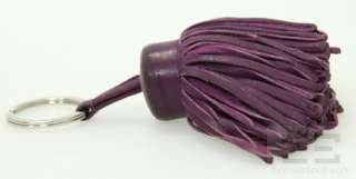 Hermes Purple Leather Carmen Tassel Key Ring, In Box
