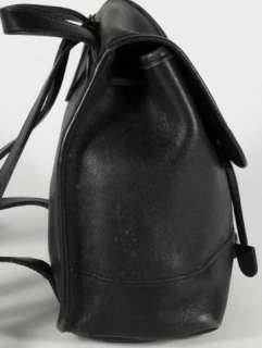 Coach Black Leather Drawstring Backpack Carry All Handbag Purse 9960