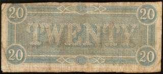 1864 $20 DOLLAR BILL CONFEDERATE CURRENCY NOTE T67 CIVIL WAR PAPER