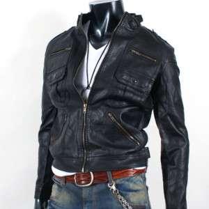Mens Rider Motorcycle Leather Jacket JK001 Black M L XL