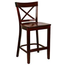 back Wood Seat Counter Stool