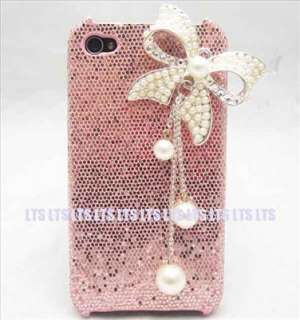 Bling Butterfly pink back Case Cover for iphone 4 4S