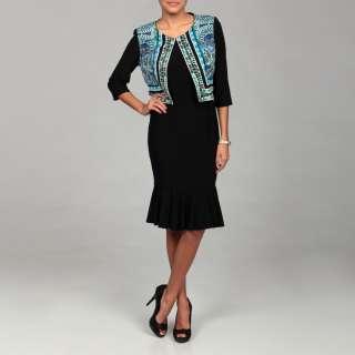 Julian Taylor Womens Blue/ Black Jacket Dress