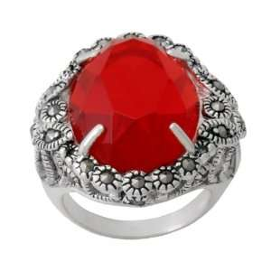 Silver Marcasite Oval Faceted Garnet Glass Color Ring, Size 6 Jewelry