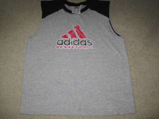 Boys Adidas basketball tank top sleeveless t shirt black gray red size