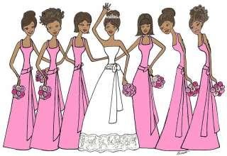 African American Bridal cards wedding pink 6 bridesmaid