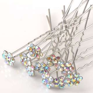 10pcs AB Clear Crystal Flower White Gold Plate Girl Wedding Hairpin