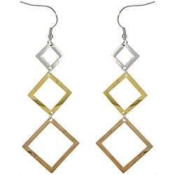 Stainless Steel Tri color 3 tier Geometric Drop Hook Earrings