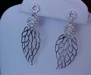 Couture CZ Angel Wings Dangle Sterling Silver EARRINGS