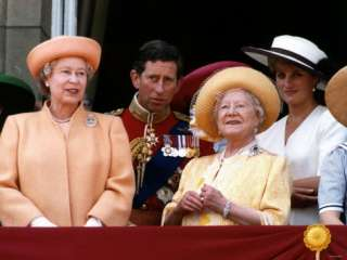 Queen Elizabeth II, Prince Charles and Princess Diana at Buckingham