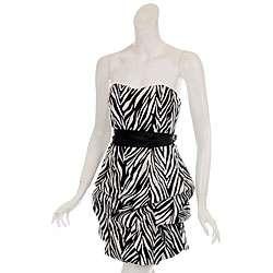 Wishes Womens Zebra Print Party Dress