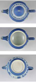 Antique English Blue Jasperware Wedgwood Teapot 1870s