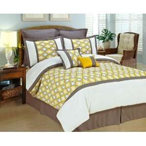 COMFORTER SET Yellow White Gray BED IN A BAG   KING SIZE BEDDING With