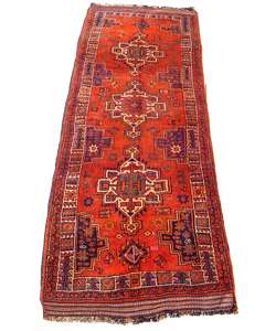 Shiraz Hand knotted Red/Purple Rug 4 x 124 (Iran)