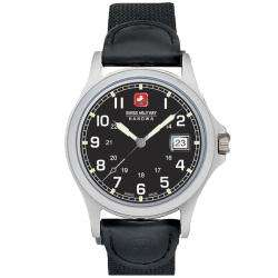 Swiss Military Womens Black Canvas Second Hand Date Watch