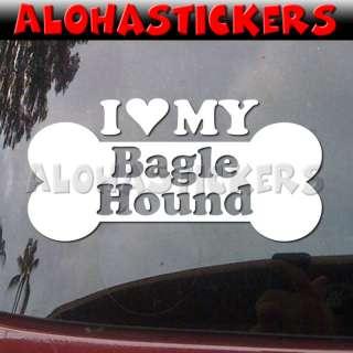 LOVE MY BAGLE HOUND Dog Breed Car Decal Sticker DG93