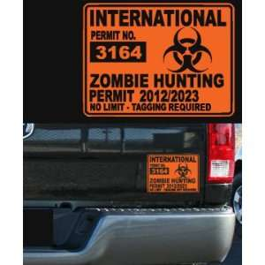 Zombie hunting permit car or truck decal orange 7.25x5.5