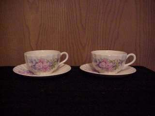 EDWIN KNOWLES CHINA 2 CUP & SAUCER SETS SPRING BOUQUET