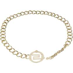 Versace Womens Gold Round Buckle Chain Link Belt  Overstock