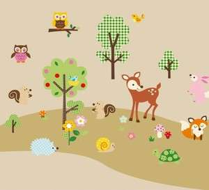 Woodland Animals & Trees Flowers Wall Sticker Decals fox owls birds