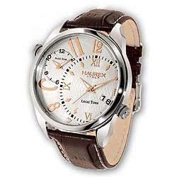 Haurex Italy Big Fly Mens Brown Leather Strap Watch Model # 6A283USH