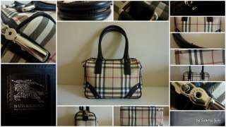 BURBERRY Nova Check Black Leather Trim Small Satchel Bag Purse Handbag
