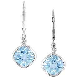 10k White Gold Diamond Blue Topaz Earrings