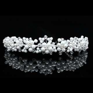 Bridal Flower Rhinestone Crystal Pearl Wedding Headband Tiara 8781