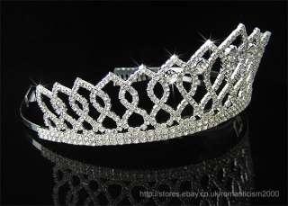 Wedding/Bridal crystal veil tiara crown headband CR100