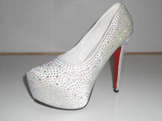 RHINESTONE PLATFORM SHOE HEELS WEDDING PROM BRIDAL PARTY SIZES UK 3 8