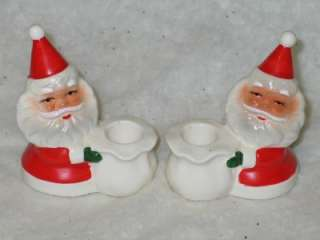 Vtg Christmas Ceramic Santa Candle Holder Set Brinns T16