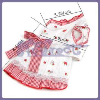 Mushroom Gingham Bowknot Dress Dog pet Puppy clothes