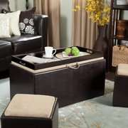 Garrett Coffee Table Storage Ottoman with Tray and Side Ottomans