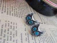 New Vintage Style Blue Rhinestone Eyes Owl Earrings Silver