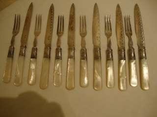 Antique Set 6 Victorian Dessert Knifes & Forks w Mother Pearl Handles