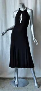 ROBERTO CAVALLI Black Keyhole Halter Long Dress NEW L