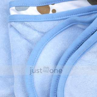 Cute Baby Toddlers Unisex Cotton Wrap Blanket Hooded Bath Towel Robe 3