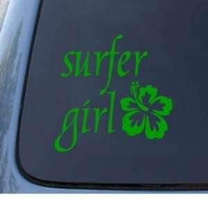 SURFER GIRL Hawaiian Tropical   Car, Truck, Notebook, Vinyl Decal