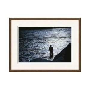 Man Bathing Colorado River Grand Canyon National Park Arizona Framed