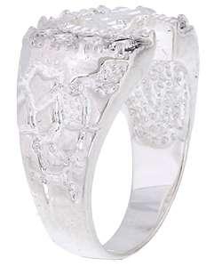 14k White Gold Overlay Mens Horseshoe CZ Ring  Overstock