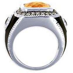 14k White Gold Overlay Mens Cubic Zirconia and Enamel Ring