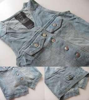 New Womens Denim Vest Ladies Jean Waistcoat L975#