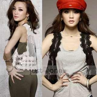 Elegant Women Lady Chic Crochet Lace Hollow Flower Waistcoat Vest