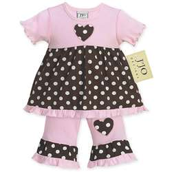 JoJo Designs Pink and Brown Polka Dot Baby Girls Outfit
