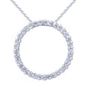 1 Carat Diamond White Gold Circle of Life Pendant W/Chain   18